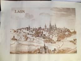 Laon/ Gravure De Mathieu Mérian ( XVII éme)/Bibliothéque Municipale De Laon/Courrier De L'Aisne 1974 AFF6 - Affiches