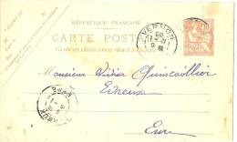 LRD3 - EP CP TYPE MOUCHON RETOUCHE 10c VERNON / EVREUX JANVIER 1903 - Biglietto Postale