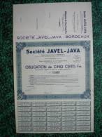 Action - France - Sté Javel-Java - Bordeaux 1940 - Obligation De 500 F - Industrie