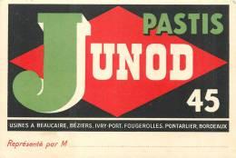 PUBLICITE Carte Commerciale PASTIS  JUNOD  Format 120 X 80 2 Scans - Publicité