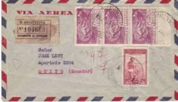 Lettre Recommandée De Buenos Aires à Quito (cachet D'arrivée Au Dos) Du 8 Oct 1947 Avec 3 Timbres Aeronautica 1947 - Argentina