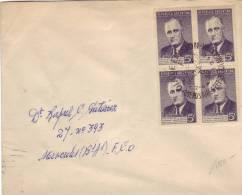 FDC Avec Bloc De 4 Du Timbre Roosevelt, Buenos Aires, 2/4/1946 - Argentine