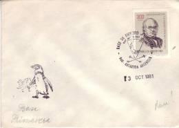 Pingouin Sur Lettre De Base De Ejercito (armée) Primavera, Antartida (Antarctique) Du 3/10/1981 Avec Timbre Rowland Hill - Argentine