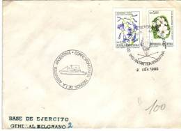 Lettre Base De Ejercito (armée) Belgrano, Antartida (Antarctique), 2/4/1985 Avec Timbres Jacaranda Et Flor Malvinense - Argentine