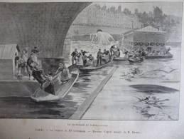 Paris Cyclone Du 10 Sept 1896 , Sauvetage Du Bateau Lavoir , Gravure Sgap Dessin Redon 1896 - Documenti Storici