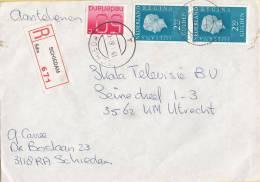 Nederland - Aangetekend/Recommandé Brief Vertrek Schiedam - Aantekenstrookje Schiedam 671 - Poststempel