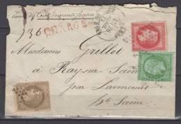 France  1869 N°20 , 30 Avec Def Et 32 A  Obl.S/ Lettre  Paris A Destination De Ray Sur Saône + Chargé - 1863-1870 Napoleon III With Laurels