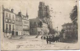 CPA - ORLEANS - LA PLACE DE L'ETAPE - LA CATHEDRALE - N° 51 COLLECTION MARRON N - Orleans