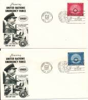 United Nations New York FDC 8-4-1957 UNEF United Nations Emergency Force Complete Set On 2 Covers With Cachet - New York -  VN Hauptquartier
