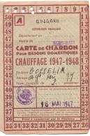 Rationnement/ Carte De Charbon/Chauffage/Saint Maur Des Fossés/ Seine/ 1947-1948        OL33 - 1939-45