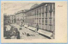 ANTE 1910 RIGHE LUNGHE NAPOLI STRADA S. CARLO ANIMATA TRAM A CAVALLI EDIZ. FIORENTINO NUOVA SPLENDIDA (5218) - Napoli