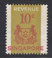 Singapore Used 10c Arms Revenue Stamp Barefoot #11 - Singapour (1959-...)