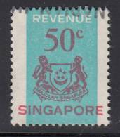 Singapore Used 50c Arms Revenue Stamp Barefoot #13 - Singapour (1959-...)