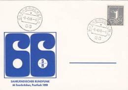 Poststempel 6.6.66, Saarbrücken 6 PLZ 66, 6 Uhr, Auf BRD 226y Saarbrücken, Schnapszahl, AK: Saarländischer Rundfunk 66 - [7] Federal Republic