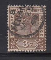 Straits Settlements Used SG #97a 3c Victoria, Brown With Repaired 'S' In Right-side 'POSTAGE' Posted Penang MY 25 99 - Straits Settlements