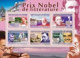 gu0872 Guinea 2008 NOBEL PRIZE OF LITERATURE s/s F.Mistral G.B.Shaw P.Buck S.Beckett A.Camus G.G.Marquez