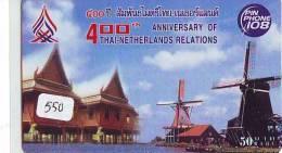 Télécarte THAILANDE * MOULIN (550) WINDMILL * Phonecard * Mühle * TK * MOLEN * THAI-NEDERLAND RELATIONS - Thailand