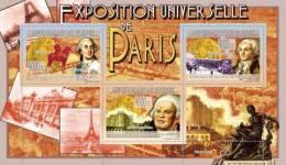 Gu0926a Guinea 2009 Paris Exposition 1889 Buffalo Bill Luis XVI De France Horse Train Eiffel S/s - Treni