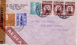 GUERRE 39-45 - PEROU - CENSURE EXAMINED BY 4183 - LETTRE POUR NEW YORK EN 19432. - Pérou