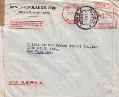 GUERRE 39-45 - PEROU - CENSURE EXAMINED BY 3910 - LETTRE POUR NEW YORK EN 1942. - Pérou
