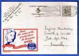 """NIVEA CREME"" Belgien 1,20 F Ganzsache 1943; ""NIVEA CREME"" Sehr Schöne Werbe-Bildpostkarte, Sonderstempel - Enteros Postales"