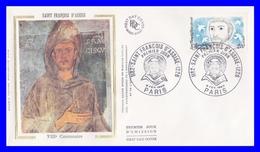 2198 (Yvert) Sur FDC Illustrée Sur Soie - 800ème Anniversaire De La Naissance De Saint François D´Assise - France 1982 - FDC