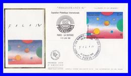 2199 (Yvert) Sur Enveloppe Premier Jour Illustrée Sur Soie - Philexfrance 1982 La Poste Et Les Hommes - France 1982 - 1980-1989