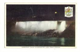 Cp, Etats-Unis, American Falls, Illuminated View From Canada, Voyagée ? - Etats-Unis