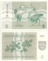 Lithuania P-33b, 3 Talonu, Juniper Branch / Grey Herons, 1991  $5CV - Lithuania