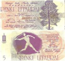 Lithuania PNL, 5 Litauru, Shaulay Olympics , Javelin Thrower - Lithuania
