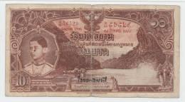 Thailand 10 Baht 1936 VG+ P 28  (Sig. 15) - Thailand