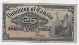 CANADA 25 CENTS 1900 VF P 9c 9 C (Signature Saunders) - Canada
