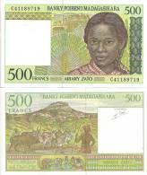 Madagascar P-75, 500 Francs, Girl With Braids/ Herdsmen, Zebus - French Style - Madagascar