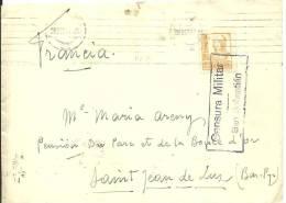 CARTA CENSURA SAN SEBASTIAN 1937 - Marcas De Censura Nacional