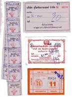 TICKET DE TRANSPORT - THAILANDE - AUTOBUS - LOT DE 3 TICKETS + BANDE DE TICKETS - Bus