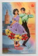 FANTAISIE-17882-BAILES ANDALUCES------Carte Brodée-----couple Dansant-signé Eloi - Bestickt