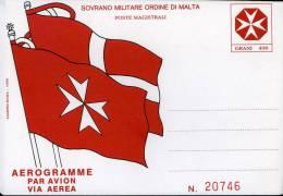 AEROGRAMMA SOVRANO MILITARE ORDINE DI MALTA 400 G 1990 NUOVO - Malta