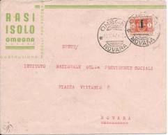 1944 Segnatasse Sovrastampati L. 1 In Emergenza Da Omegna Per Novara - 1944-45 République Sociale