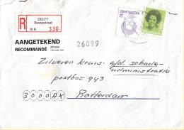 Nederland -  Aangetekend/Recommandé Brief Vertrek Delft - Aantekenstrookje Delft Bossestraat 330 - Poststempel