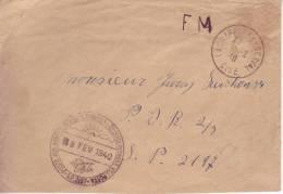 1940 8.2 Envelope Military Post From La Chapelle En Serval To SP 2197, Arrival Stamp POSTE AUX ARMÉES TCHECOSLOVAQUES