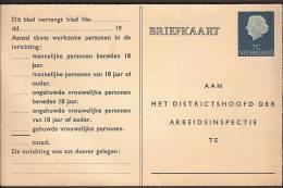 Arbeidslijst Geuzendam Nr 27b Ongebruikt Op Roomkleurig Karton - Postal Stationery
