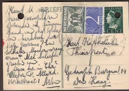 Briefkaart 1945 Geuzendam Nr 232a Met Bijfrankering - Op Licht Roomkleurig Karton - Postal Stationery