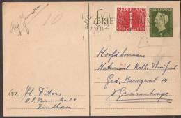 Briefkaart 1947 December - Geuzendam Nr 235a Roomkleurig Karton Met Bijfrankering - Postal Stationery