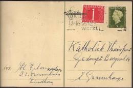 Briefkaart 1947 December - Geuzendam Nr 235b Dun Geel Karton Met Bijfrankering - Postal Stationery