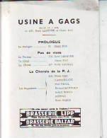BX /  PROGRAMME THEATRE DEUX ANES ROCCA DAC Pierre USINE A GAG DUHAU - Programmes