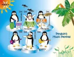 gam0705sh Gambia 2007 Birds International Polar Year s/s IPY 2007~2008 Penguin Parrot Music