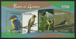 gam0923sh Gambia 2009 Bird Kingfisher Crane Bulbul Swallow s/s