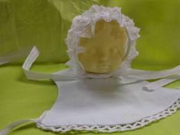 Coiffe Ou  Bonnet + Bavoir  De Bebe Pour Poupee Ou Poupon  (5)- - Children
