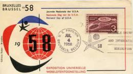 ENVELOPPE SOUVENIR USA EXPOSITION UNIVERSELLE BRUXELLES 1958 - CACHET PAVILLON AMERICAIN 04/07/58 INDEPENDANCE DAY - Event Covers