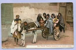 Vintage Card Karte Egypte Le Caire Donkey Charette Transportant Des Femmes Arabes Arabic Woman About 1905 (486) - Personen